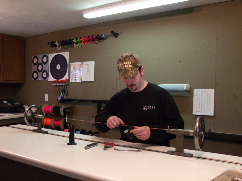 TJ building a set of Custom Bow Strings - first shop